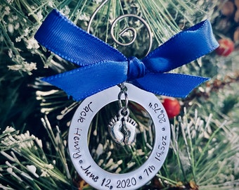 SALE Personalized baby's first Christmas ornament with baby feet charm christining ornament holiday decorations christmas tree ornament