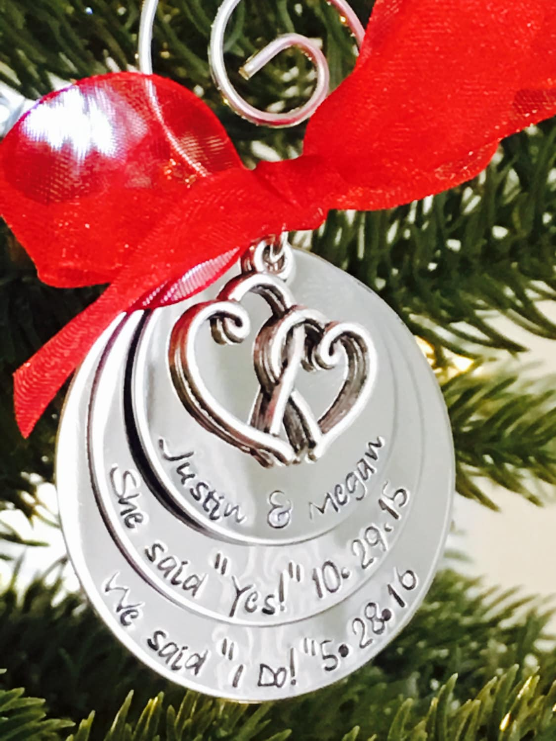 SALE Personalized first christmas ornament wedding ...