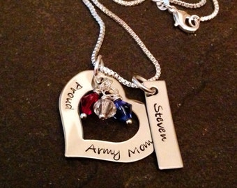 Hand stamps personalized army mom marine corps mom navy mom Air Force mom girlfriend wife necklace