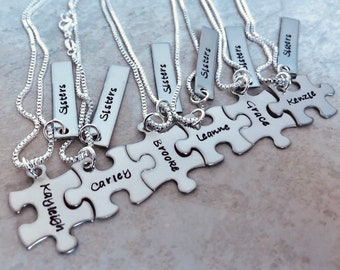 Personalized sister necklaces gift set custom jewelry with puzzle pieces gift for sister custom jewelry best friends set sorority sisters