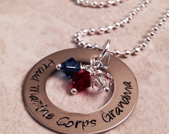 Honor Courage Commitment hand stamped personalized necklace military deployment navy army marine corps coast guard Air Force marine corp mom