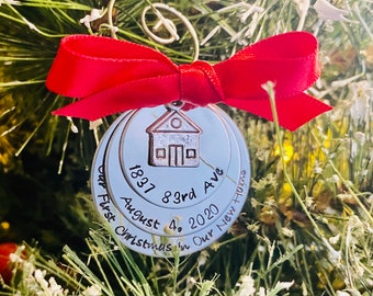 Personalized new home ornament our first Christmas in our new home custom Christmas ornament hand stamped engraved holiday Christmas gift