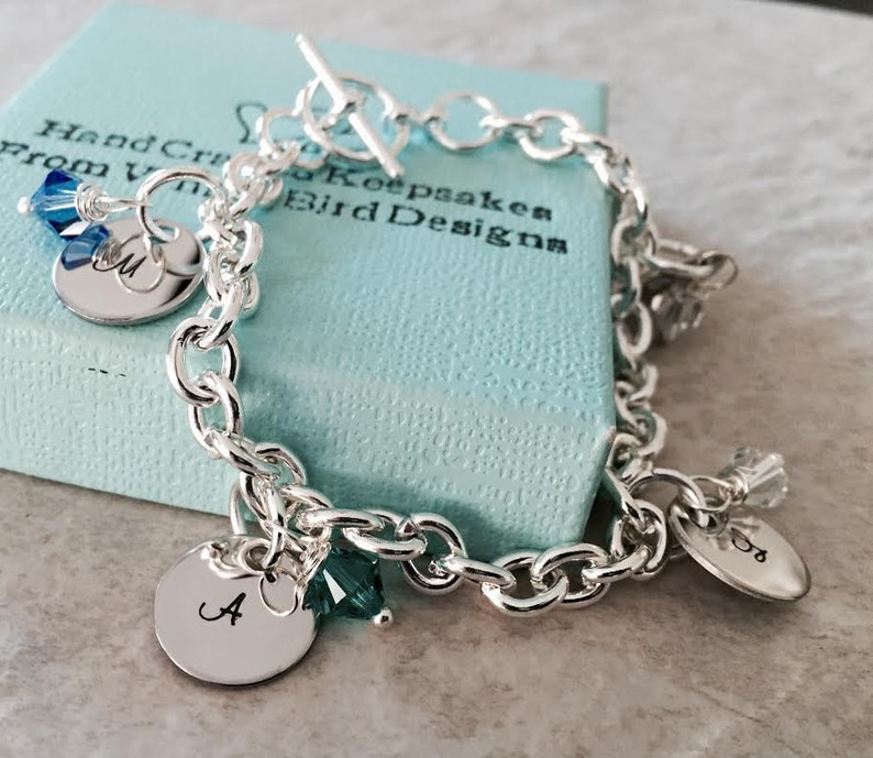 Personalized Charm bracelet with monogrammed initials and image 0