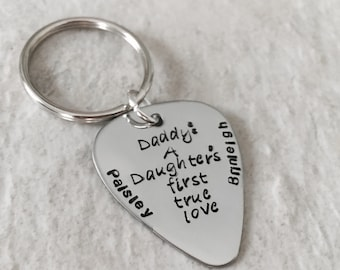 Daddy a daughters first love keychain personalized hand stamped personalized dad keychain gift for dad father's day gift guitar pick daddy