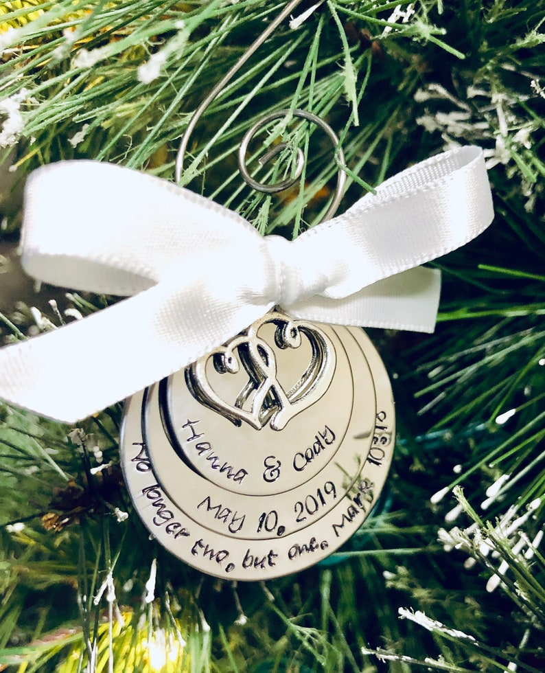 Custom Christmas ornament no longer two but one wedding date anniversary date first Christmas married Mark 10:8 bible verse ornament gift