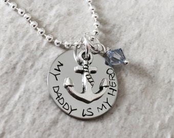 My daddy is my hero personalized necklace my dad my hero husband boyfriend son grandson military navy army air force coast guard marine corp