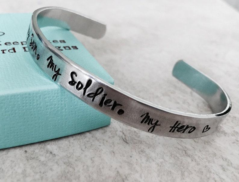 1b531799efc SALE My Son My Soldier My Hero cuff bracelet personalized image 0 ...