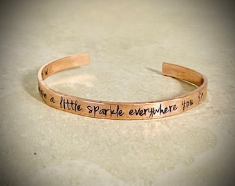 Leave a little sparkle everywhere you go cuff bracelet custom cuff bracelet custom quote jewelry personalized jewelry gift for her copper