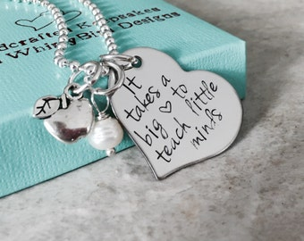 Personalized teacher necklace it takes a big heart to teach little minds apple charm teacher appreciation teacher gift