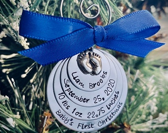 Baby's first christmas ornament personalized christmas ornament with baby name birthdate birth information custom ornament child's first