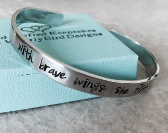 Sale personalized cuff bracelet with brave wings she flies custom hand stamped bracelet encouragement gift bravery gift for little girl