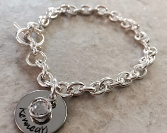 Hand stamped personalized name bracelet charm bracelet with channel set Swarovski crystal