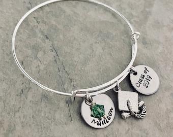 Hand stamped personalzied graduation bracelet graduation gift class of bangle bracelet with name charm swarovski crystal high school college