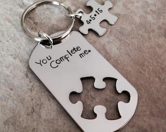 You complete me puzzle piece keychain personalzied keychain wedding date wedding gift boyfriend girlfriend best friends keepsake