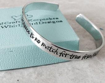 Personalized cuff bracelet distance is no match for true friendship best friends jewelry sorority sisters childhood friends going away gift