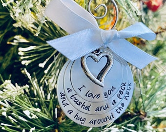 SALE I love you a bushel and a peck and a hug around the neck christmas ornament with heart charm personalized christmas ornament with song