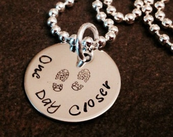 One day closer hand stamped necklace combat boots military army navy marines Air Force