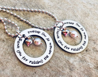 Hand Stamped Personalzied Mother In Law Necklaces with Freshwater Pearl or Birthstone Thank you for raising the man of my dreams Woman