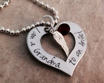 I am a grandma to an angel personalized necklace mom dad grandpa sister aunt if Heaven wasn't so far away remembrance loss of a child
