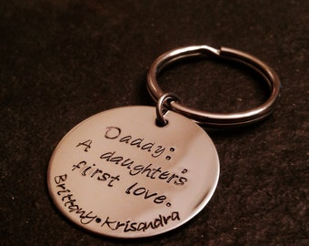 Daddy a daughters first love hand stamped personalized keychain