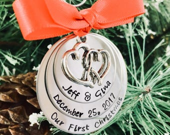 Sale our first Christmas ornament Christmas tree ornament first Christmas married engagement ornament couples first Christmas mr and mrs