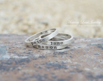 d0f2cf4e01 Sterling Silver Stacking Rings - Handmade Ring - Hand Stamped Ring -  Personlaized stacking rings - Mommy Rings - Stackable Rings