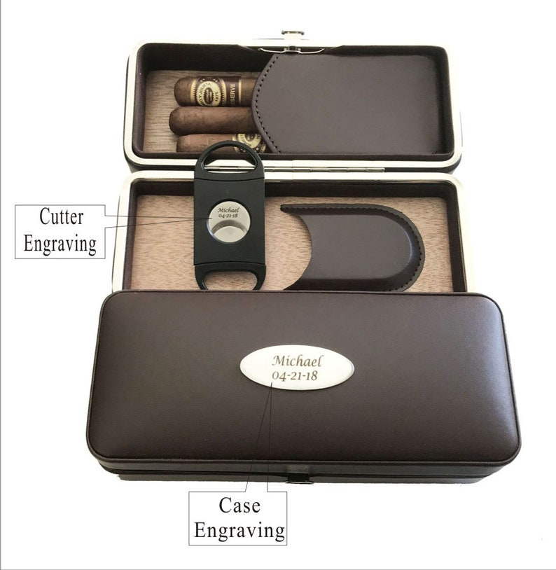 Christmas gift for him Birthday gift-Personalized Custom engraved Cigar Case /& Cigar Cutter-Magnetic OpenClose-gift for Men Holidays