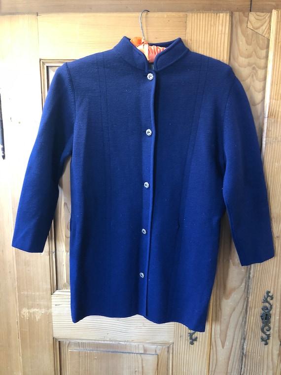 Vintage 60s Chic Navy Blue Wool Cardigan