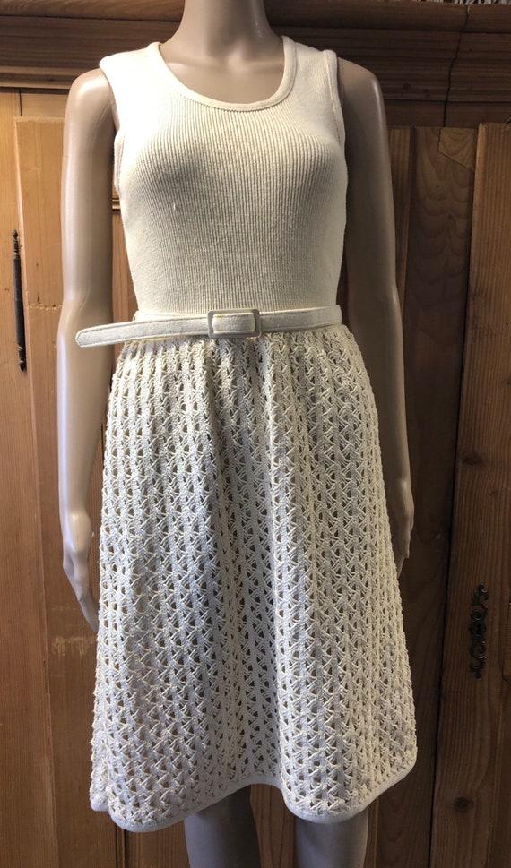 Vintage I Magnin Chic Mod Cream Crochet Knit Dress