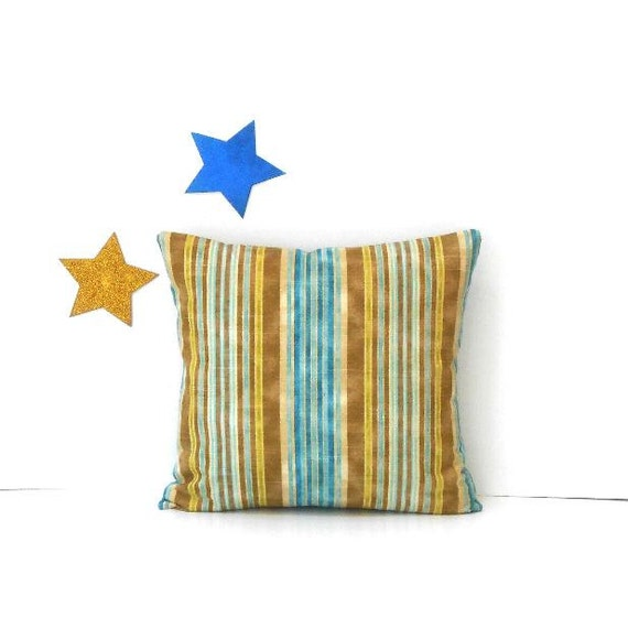 Strange Brown Blue Striped 18X18 Pillow Cover Sofa Chair Or Couch Throw Pillow Andrewgaddart Wooden Chair Designs For Living Room Andrewgaddartcom