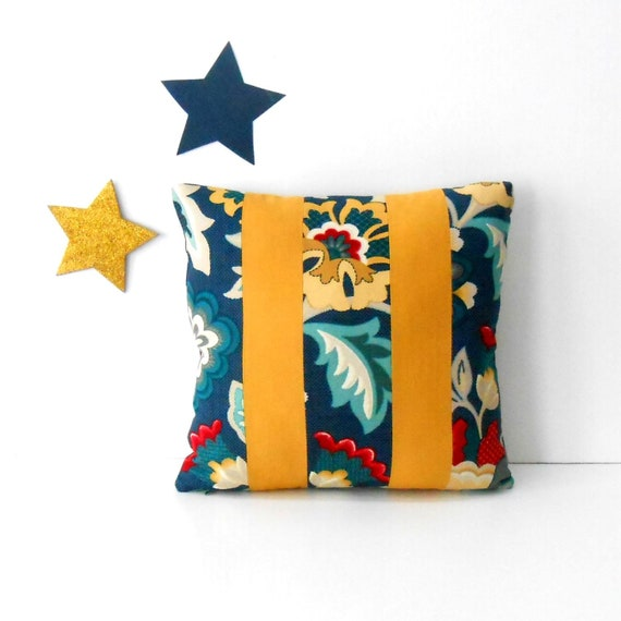Fine 16X16 Color Blocked Blue Floral Pillow Cover With Grey Gold And Red Sofa Or Chair Pillow Couch Cushion Cover Creativecarmelina Interior Chair Design Creativecarmelinacom