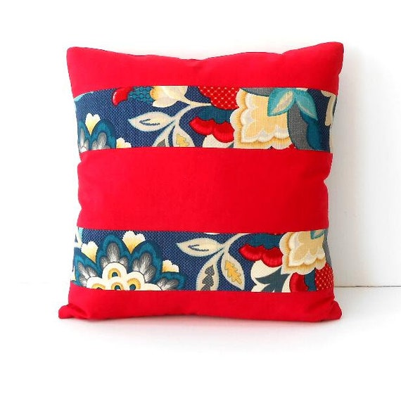 16x16 Red Striped Floral Pillow Cover With Blue, Grey and Gold, Sofa  Cushion Cover, Bedroom Pillow Sham