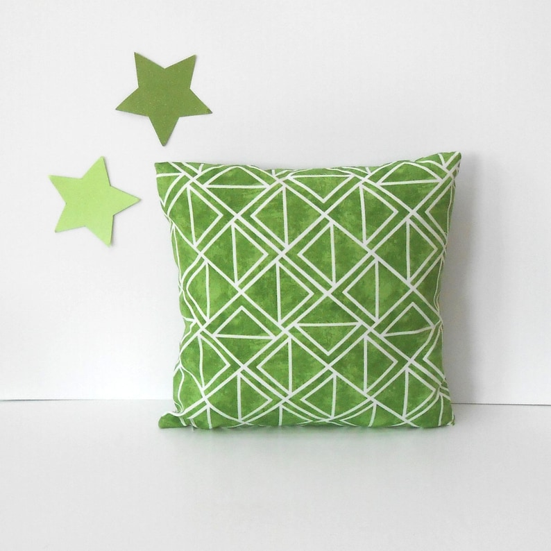 Lime Green Indoor Outdoor Pillow Cover 18x18 White Geometric image 0