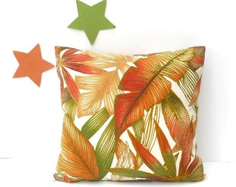 Leaves in Rich Fall Colors Outdoor Pillow Sized 18x18, Green, Orange, Gold, Red, Cream Patio Pillow Sham, Solarium Pillow Case for Deck