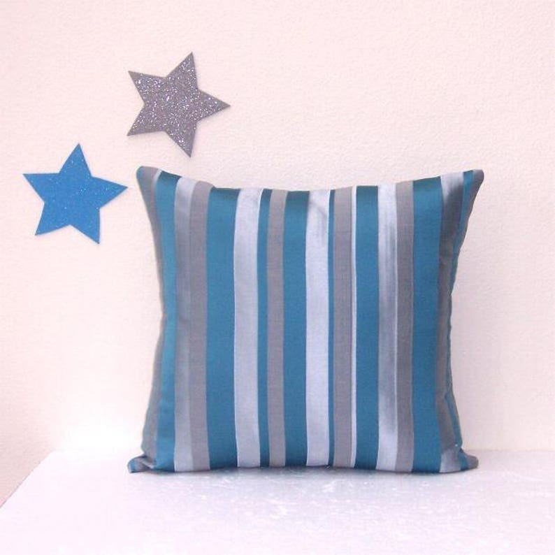 16x16 Teal Striped Pillow Cover With Grey and Silver, Bedroom Pillow Sham,  Sofa or Chair Cushion Cover