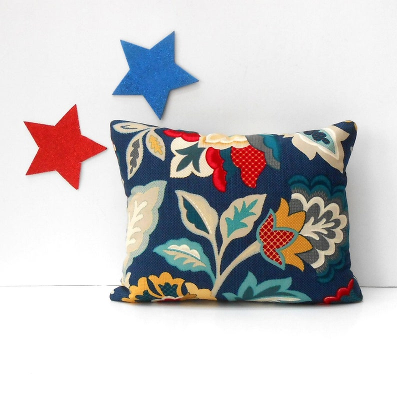Awesome Royal Blue 12X16 Lumbar Floral Pillow Cover With Red Grey And Gold Waverly Accent Throw Pillow Sofa Cushion Cover Creativecarmelina Interior Chair Design Creativecarmelinacom