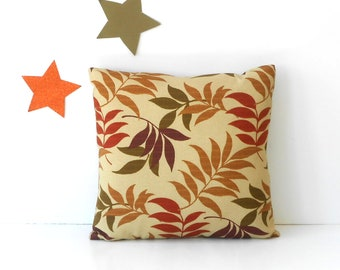 Tan Leaves Outdoor Pillow Cover, 18x18 Brown, Green, Rust and Purple Leaf Print Deck, Patio or Porch Pillow
