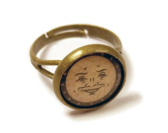 Ouija Board Sun Bronze Adjustable Ring
