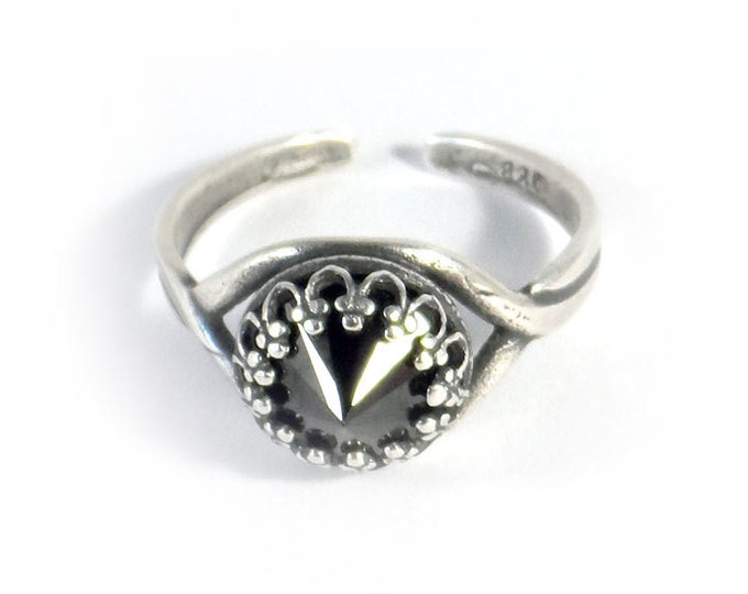 Black Cubic Zirconia Adjustable Antique Silver Ring