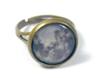 Full Moon Bronze Adjustable Ring