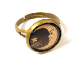 Ouija Board Moon Bronze Adjustable Ring