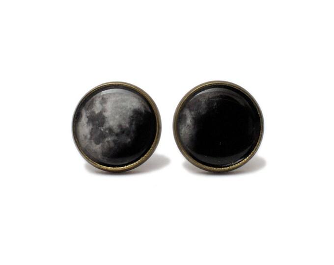 Moon Phase 12mm bronze stud earrings