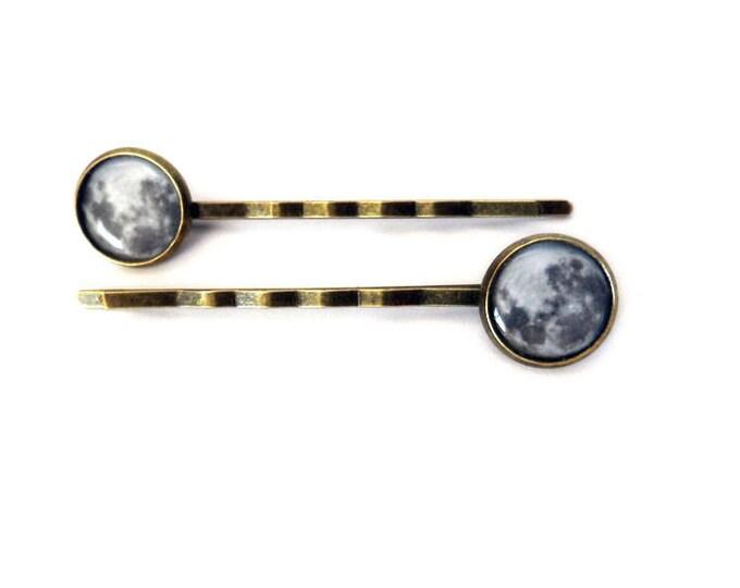 Pair of Full Moon Bronze Bobby Pins