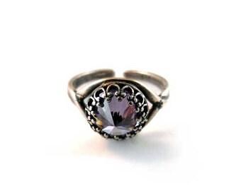 Lavender Cubic Zirconia Adjustable Antique Silver Ring