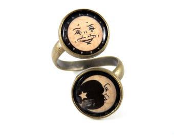Ouija Board Bronze Adjustable Ring