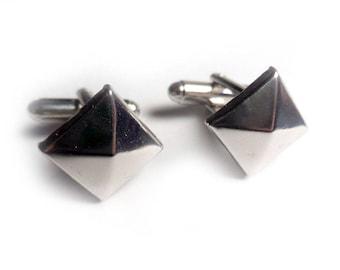 Silver Pyramid Stud Cufflinks