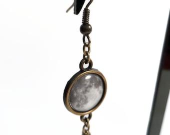 Stella Luna Short Dangle Earrings, Moon and Star