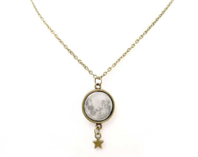 Full Moon and Star Charm Necklace, Large