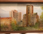 Vintage University of Illinois Keepsake Box, Chicago, College of Medicine, Reversed Painting, Interior Mirror, Eglomise Design, Boston, Cool