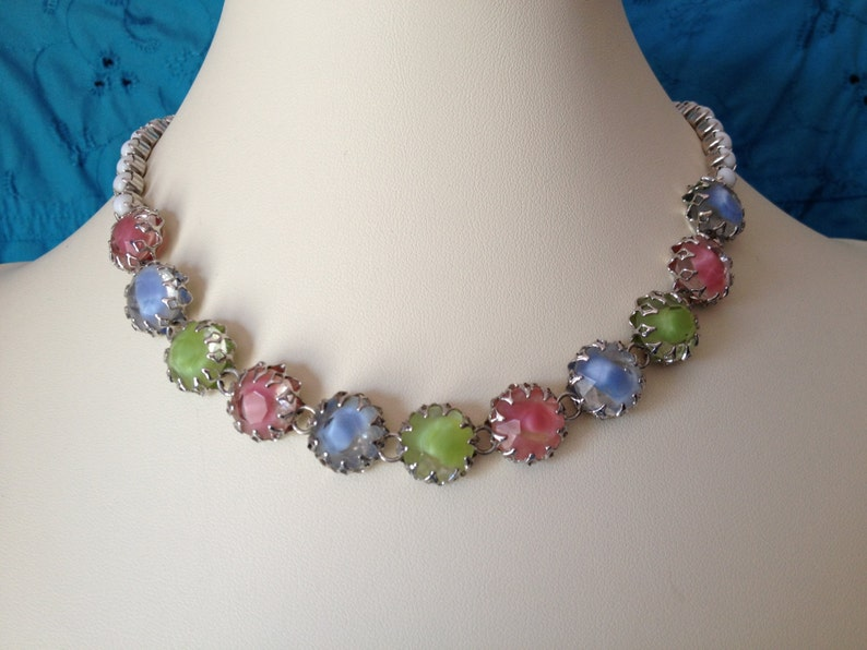 Milk Glass Rhinestone Setting Pastel Choker Necklace by Gale Under 50 Made of Pastel Givre Faceted Glass Cabochons Signed Vintage 1950s